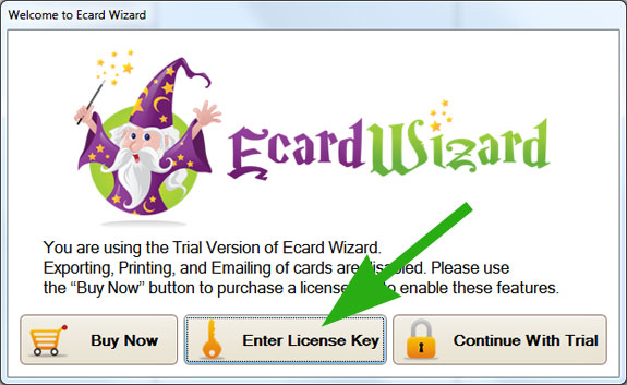 Ecard Wizard License Key Screen